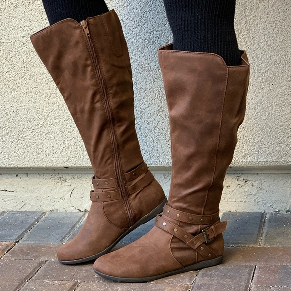 Womens Calf Knee Boots Ladies Studded Biker Riding Ankle Strap Zip Up Shoes Size